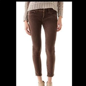 Mulberry velvet free people skinny cropped
